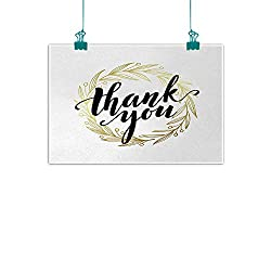 Unpremoon Modern,Kitchen Wall Art Thank You Quote Surrounded by The Olive Leaves Like Ivy with White Background W 48 x L 32 Wall Paintings for Living Room Gold and Black