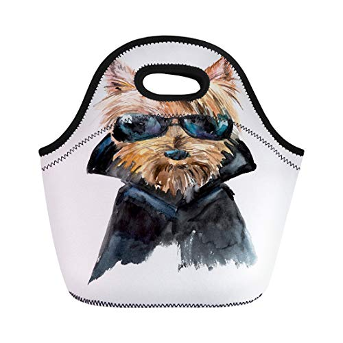 Semtomn Neoprene Lunch Tote Bag Dog in Sunglasses Yorkshire Terrier Cool Guy Biker Ridiculous Reusable Cooler Bags Insulated Thermal Picnic Handbag for Travel,School,Outdoors,Work