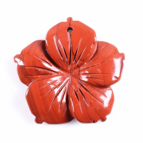 Wholesale 28mm Hand carved gemstone flower pendant bead 5pcs (Flame jasper)