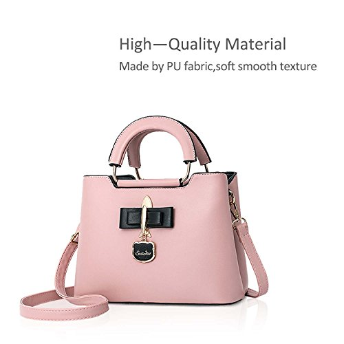 Casual Fashoin Tote Bag PU Handbag Pendant amp;DORIS New Girls Hardware Bag for Shoulder Crossbody Women Bag Pink Black 2018 NICOLE 4zx81wqqt