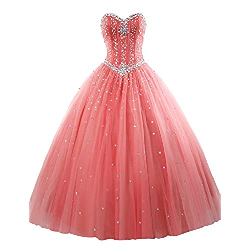 Erosebridal Long Prom Dress Tulle Sweetheart Beaded Quinceanera Dress US 4 Coral