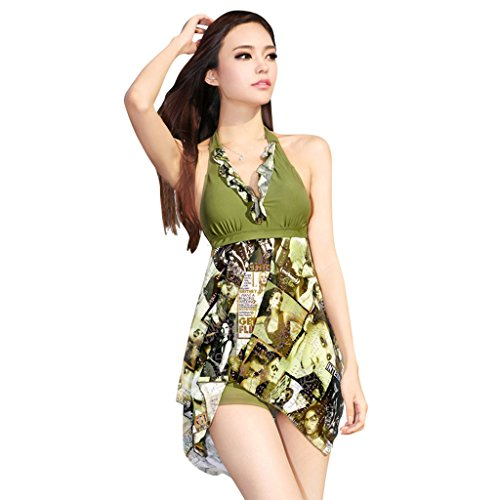 Zmart Women's Fashion Foil-Printed Two-Piece V-Neck Halter Flyaway Swimdress,Green,US Size XXL(20,24)=Lable size 4XL