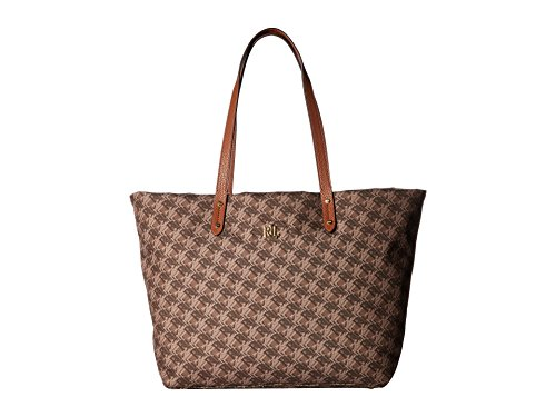LAUREN Ralph Lauren Women's Bainbridge Tote Brown Logo Print Multi - Bag Ralph Brown Lauren