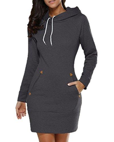 (Celmia Women Long Sleeve Slim Hooded Pullover Zipper Tunic Sweatshirt Dress Hoodie with Pockets Dark Grey)