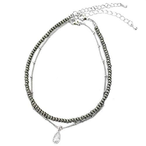 [해외]발목 장식 남성 비즈 액세서리 2 연 트윈 라인 스톤 드롭 실버 매력 발목 팔찌 / Anklet Men`s Bead accessories 2 series twin rhinestone drop silver charm ankle bracelet