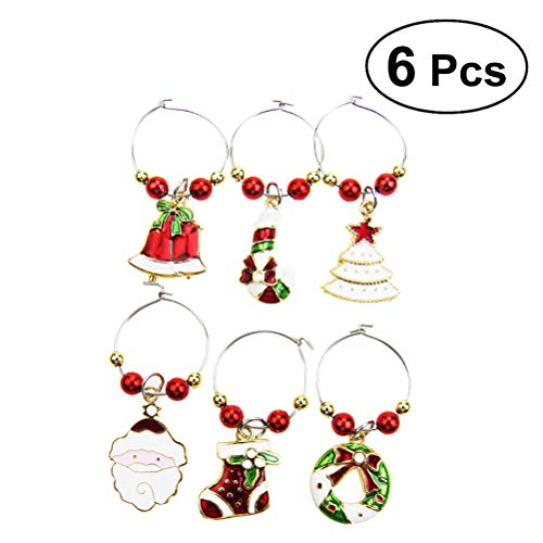 BESTOYARD 6pcs Christmas Glass Charms Wine Glass Goblet Charms Rings Wire Hoops Drink Markers Party Favors Supplies