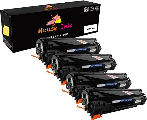 Hewlett Packard Laser Mouse (4 Packs Mouse Ink Compatible HP 36A CB436A Black Premium Quality HP36A 436A CB436 BK Toner Cartridge Laserjet M1522N M1522NF M1522n MFP M1522nf MFP P1505 P1505n)