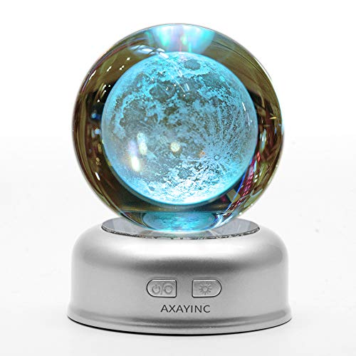 Dolphins Moon (AXAYINC 3D Moon Lamp Crystal Ball Lunar Night Light with Stand 7 Colors Change Illusion for Kids Room Baby Bedroom Decor 70mm)