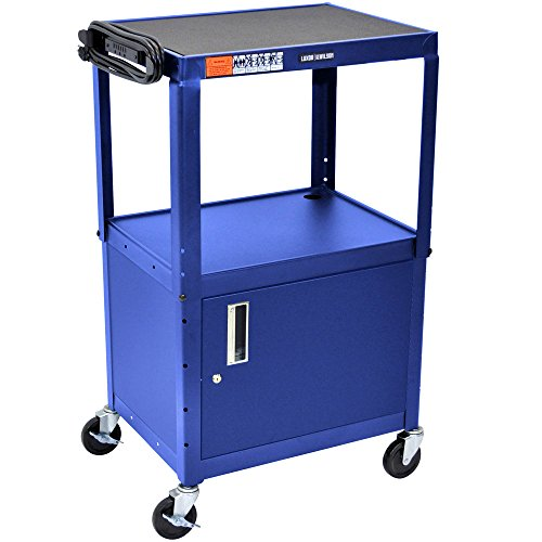 Luxor / H. Wilson AVJ42C-RB Blue Steel Adjustable AV Cart with Cabinet by Luxor