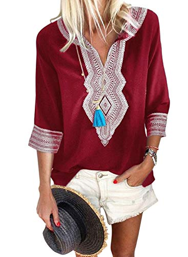 FARYSAYS Women's Casual 3/4 Sleeve V Neck Bohemian Embroidered Tops Fashion Loose Blouse Shirts Red X-Large
