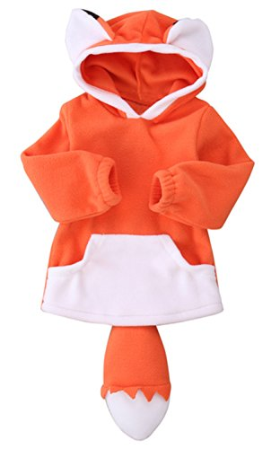 stylesilove Unisex Baby Cute Cartoon Animal Hooded Costume Outfit (110/3-4 Years, Orange Fox) ()