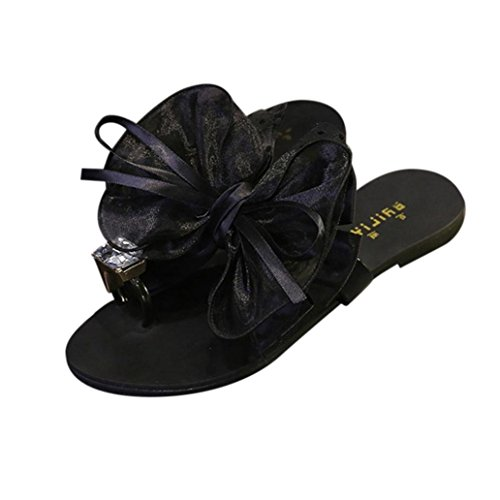 Price comparison product image Clearance! WuyiMC Women Sandals,  Ladies Flower Bow Flat Heel Toe Sandals Slipper Beach Shoes Casual Shoes (Black