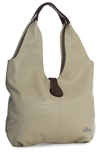 LiaTalia Genuine Italian Soft Leather Large Hobo Shopper Shoulder bag with Protective Dust Bag - Zoe [Beige - Brown Trim] by LiaTalia Vera Pelle Made In Italy
