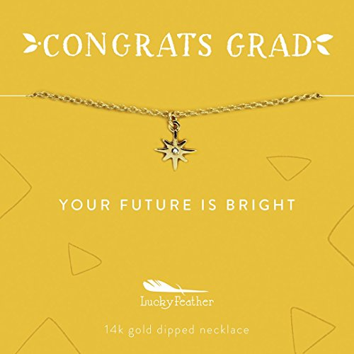 "Lucky Feather CONGRATS GRAD Graduation Gift Starburst Charm Necklace 14k gold dipped Sunshine Yellow Card: ""Your Future is Bright"". 14k Yellow Gold Starburst"