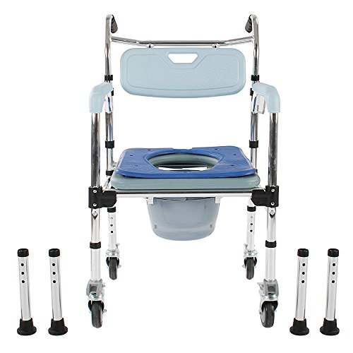- Aromzen Aluminum Commode Wheelchair Shower Chair 4-in-1 Bedside Toilet Bathroom Chair