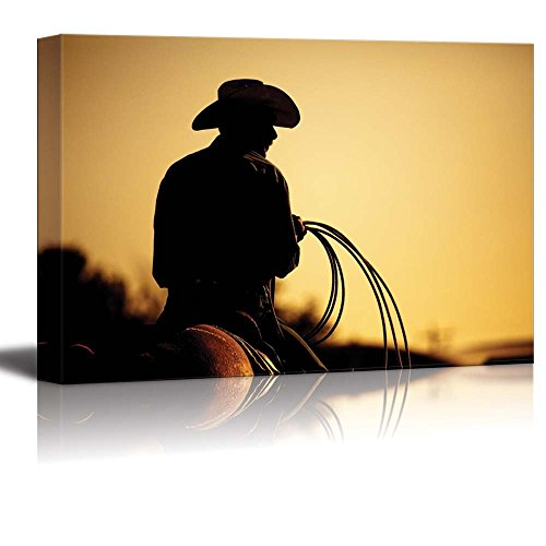 Canvas Prints Wall Art - Cowboy with Lasso Silhouette at Small Town at Sunset American Western Landscape | Modern Wall Decor/ Home Decoration Stretched Gallery Canvas Wrap Giclee Print & Ready to Hang - 16