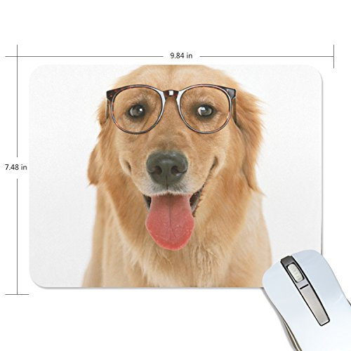 Personalized Mouse Pad Large Rectangle Gaming Mouse Pad Style Rubber Mousepad with Dog Wearing Glasses in 9.84