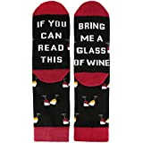 Novelty Funny Saying Crew Socks If You Can Read This Bring Me Wine, Gag Gift for Men Women