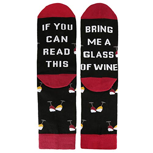 If You Can Read This Novelty Funny Saying Wine Crew Socks, Gag Gift for Men