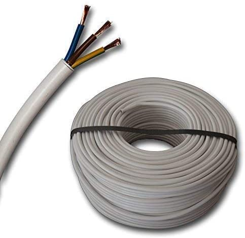 5m Tuyau Flexible H03VV-F 3G0,75 mm/² 3x0,75 mm/² Blanc