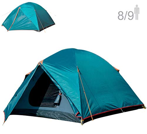 NTK Colorado GT 8 to 9 Person 10 by 12 Foot Outdoor Dome Family Camping Tent 100% Waterproof 2500mm, Easy Assembly, Durable Fabric Full Coverage Rainfly - Micro Mosquito Mesh ()