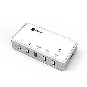 iClever 5-Port USB Desktop Charging Hub, Travel Charger for iPhone 6S 6 Plus 5S 5 / iPad Pro, Air, Mini / Samsung Galaxy S6 Edge, Tab / HTC M9 and More (2 iPad, Samsung Tab, iPhone, Anroid Port) White