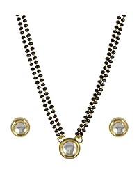 MUCH MORE Stunning Kundan CZ Fashion Jewelry Traditional Mangalsutra Golden Black Beads Chain Set