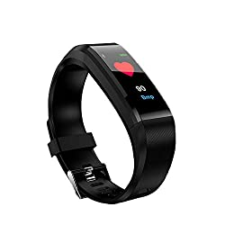 Harpi 2018 Smart Watch Heart Rate Monitor Blood Presure Smart Bracelet,Fitness Tracker Color Screen Fit Android iOS (Black)