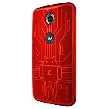 Nexus 6 Case, Cruzerlite Bugdroid Circuit TPU Case Compatible for Google Nexus 6 / Motorola Nexus 6 (2014 Release) - Red
