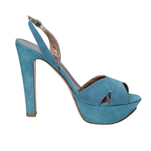OLIMPIA Sandalias Mujer 39 EU Azul Cuero de ante AG591