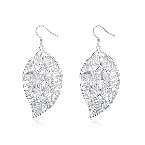 (NABTYJC Sterling Silver Filigree Dangle Leaf Earrings for Women)