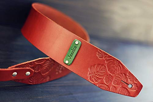 Custom Leather Guitar Strap, Acoustic, Electric, Bass, Monstera leaves pattern, Customize name, initials
