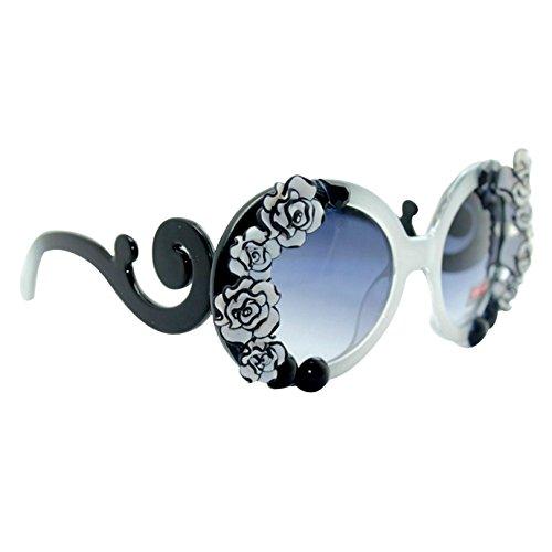 Felice Women's Oval Flower Sunglasses Flower Jewel?Retro Vintage Style Sunglasses (Sunglasses Flower)