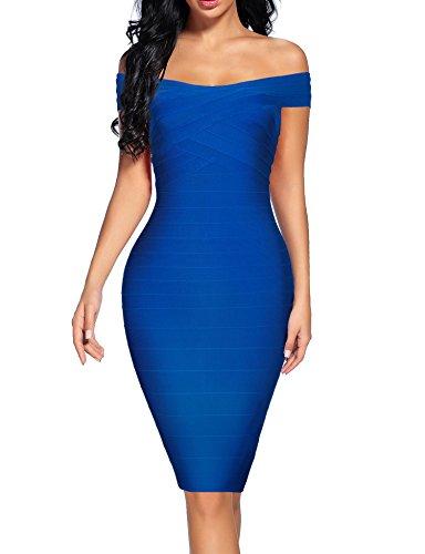 houstil Women's Off Shoulder Spaghetti Bandage Bodycon Dress Party (S, Dark Blue)