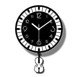 TRSMXYW Wall Clocks for Living Room Radio Controlled Music Classroom Creative Black and White Piano Keys Notes Swing Violin Art Pendulum Decorative Beautiful and Durable