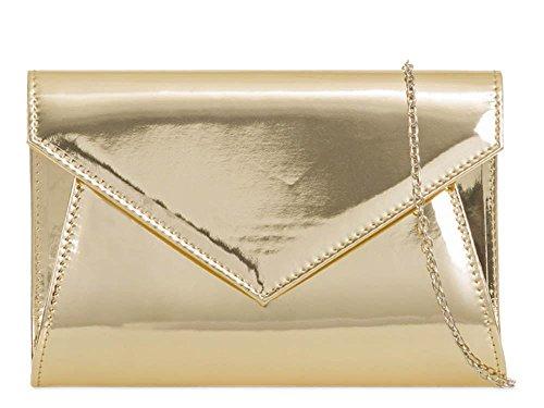 ENVELOPE STRAP NEW Gold PARTY CLUTCH PATENT PURSE 3D BRIDAL BAG WOMENS CHAIN LEATHER wqISRq