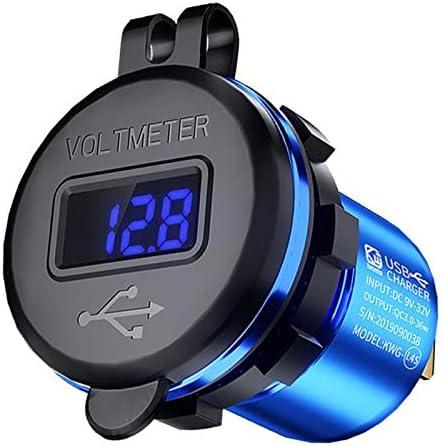 Generic 充電器ソケット 電源コンセント デジタル電圧計 電流計 カー ボート マリン バイク用 - 青
