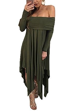 XINGMU Mujeres Embarazadas Traje De Vestir De Manga Completa Sólidos Slash Verde Vestido De Cuello Corto