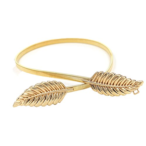 Charming House Women Stretchy Wasit Belt with Shiny Metal Leaf Cinch Thin Dress Belt (Gold Leaf, 1pc) (Charming House)