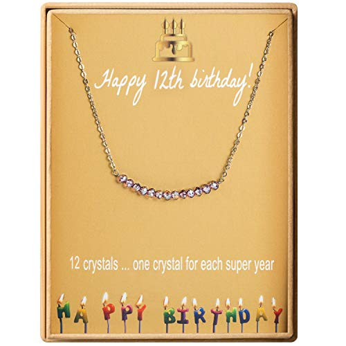 12th Birthday Gifts Necklace for Girls S925 Sterling Silver Necklace 12 Crystal Beads for 12 year old Girl Jewelry Gift for Her