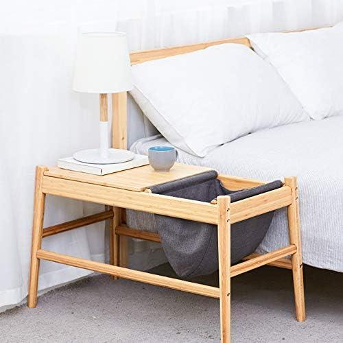 YNN Table de Chevet de Chambre à Coucher de Table Basse de Salon de Table Basse de Sofa en Bois Solide avec Le Sac de Stockage