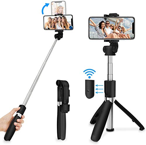 MOBILIFE 3-in-1 Multifunctional Extendable Bluetooth Selfie Stick Tripod with Detachable Wireless Remote Compatible with…