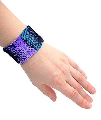 Sparklee Me Mermaid Sequin Color Changing Reversible Bracelet/Elegant Adjustable Wristband,Small-Med,Aqua Blue/Purple