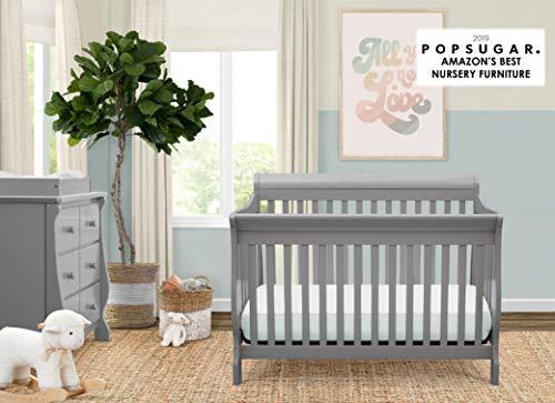 417Cb7CEMjL - Delta Children Canton 4-in-1 Convertible Crib - Easy To Assemble, Grey