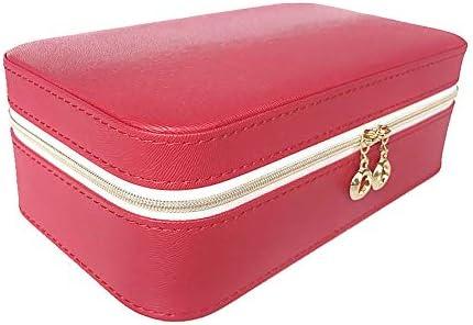ジュエリーボックス、ジュエリーオーガナイザー、携帯用トラベルケース、リング用、イヤリング、ネックレス、ベルベットの裏地(赤)