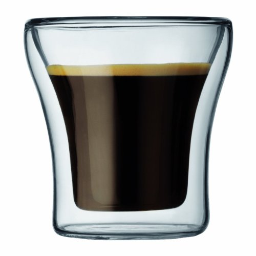 CoastLine Double Wall Insulated Glass Espresso & Shot Glass Set | Pair of Illusion Floating Liquid Drinkware for Coffee or Alcohol | Hand Blown for Hot or Cold - Frames Glasses Bottomless