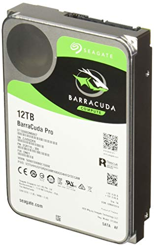 Seagate BarraCuda Pro SATA HDD 12TB 7200RPM 6Gb/s 256MB Cache 3.5-Inch Internal Hard Drive for PC/ Desktop Computers System All in One Home Servers Direct Attached Storage (DAS) (ST12000DM0007)