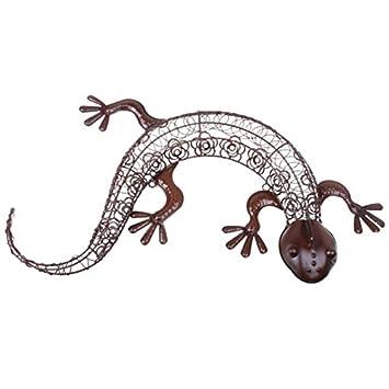 Wanddekoration Aussen gecko wanddeko aussen 71cm braun gartendeko wanddekoration garten