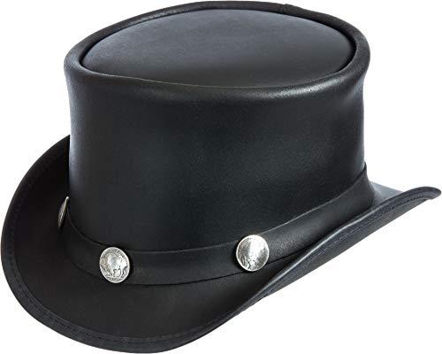 Leather Dorado - Steampunk El Dorado Leather Top Hat with Buffalo Nickels Black