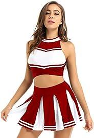 Doomiva Womens Cheerleading Uniform Costumes Stand Collar Tank Crop Top with Pleated Mini Skirt